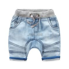 Children's Clothing Boy Handsome Splicing Cotton Washable Harem Denim 1/2 Length Pant Fifth Pants | Import-express.com #cheapbabyclothes