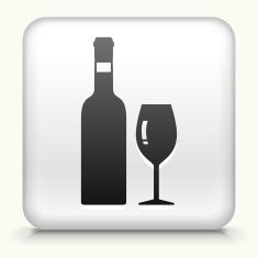 White Square Button with Wine Icon vector art illustration