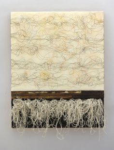 Kathy Miller. _Duality_. hand spun text from antique Japanese calligraphy book, encaustic, wire, found wood