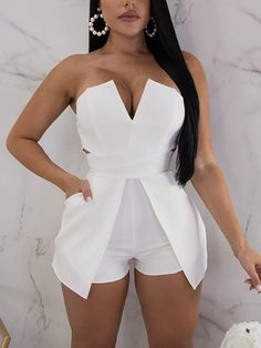 V Neck Zipper Up Back Tube Romper – bodyconest romper fashion,outfit romper,romper and tights,romper casual All White Outfit, White Outfits, Sexy Outfits, Sexy Dresses, Summer Outfits, Fashion Outfits, White Romper Outfit, Mode Chic, Birthday Woman