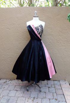 Vintage 1950's  Emma Domb Sequined Black Pink Satin Cocktail Dress