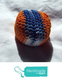 Orange with Variegated Blue White Stripe Hand Crocheted Footbag 6.5x6.5 Inch…