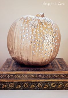 #Pumpkin #wedding decor - dress up your wedding pumpkins with glitter, sequins and other bling! www.CharmingGraceEvents.com