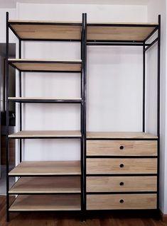 Metal Furniture, Home Decor Furniture, Furniture Design, Bedroom Closet Design, Closet Designs, Industrial Office Design, Industrial Closet, Cute Bedroom Decor, Wardrobe Furniture