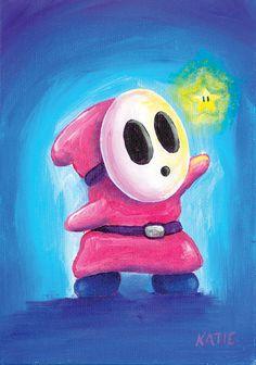 Pink Shyguy Art Print by katieclarkart Super Mario 3d, Super Mario World, Video Game Decor, Video Game Art, Cartoon Memes, Cartoons, Graffiti Pictures, Shy Guy, Clark Art