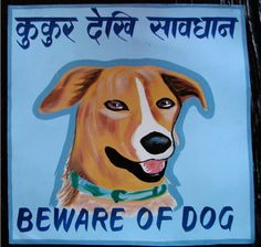 """The Himalayan Art of """"Beware of the Dog"""" Signs: Saving a Subculture Dog Illustration, Illustrations, Indian Room, International Signs, Messy Nessy, Beware Of Dog, Street Dogs, India Art, Dog Signs"""