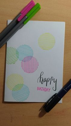 Happy Birthday Card: Linear Circles (Summer Colour Scheme)   | Pencil TRADEMARKS
