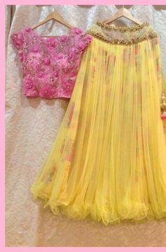 Haldi Ceremony Yellow Lehenga Choli With Handwork Half Saree Designs, Choli Designs, Lehenga Designs, Blouse Designs, Indian Gowns Dresses, Indian Fashion Dresses, Indian Designer Outfits, Indian Wedding Outfits, Indian Outfits