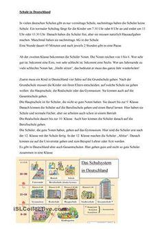 Das Arbeitsblatt ist dafür geeignet eine Einführung in das deutsche Schulsystem…