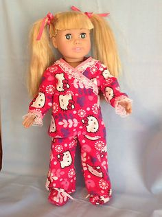 HANDMADE AMERICAN GIRL OR 18in DOLL CLOTHES 3PC FLANNEL PAJAMAS + BOOTIES