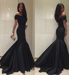 New Fashion 2017 Black Formal Dresses,Custom Satin Mermaid Long Prom Dresses,Off The Shulder Women Evening Gowns