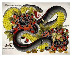 japanese tattoos symbols and meaning Japanese Snake Tattoo, Tattoo Japanese Style, Traditional Japanese Tattoos, Japanese Sleeve Tattoos, Kunst Tattoos, Irezumi Tattoos, Diy Tattoo, Mask Tattoo, Irezumi Sleeve
