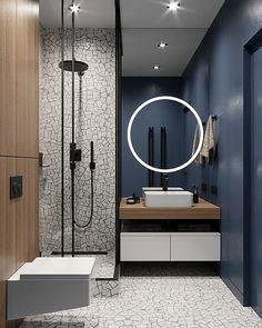 Warm flat on Behance Washroom Design, Bathroom Design Luxury, Modern Bathroom, Tv Unit Interior Design, Modern Interior Design, Interior Design Living Room, Living Room Partition Design, Room Partition Designs, Modern Classic Interior