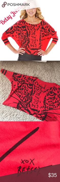 Betsy Johnson Meow shirt Size one size fits most red long sleeve 100 percent cotton super fun shirt with leopard in front and Meow on back top is 20 inches long wand is 33 inches from armpit to armpit Betsey Johnson Tops Tees - Long Sleeve