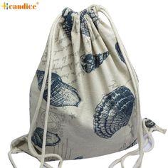 Naivety 2016 New Canvas Unisex Retro Backpack Fashion Printing Drawstring Bag Mochila 11S60927 drop shipping
