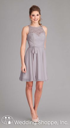 A romantic short lace and chiffon bridesmaid dress in silver.