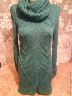 """туника """"лиана"""" - тёмно-зелёный,вязание спицами,вязание на заказ,полушерсть"""