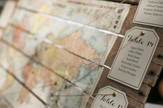 Travel Theme Wedding Map Table Numbers
