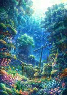 Sea of dreams anime scenery, fantasy landscape, landscape art, fantasy art, underwater Fantasy Art Landscapes, Fantasy Landscape, Fantasy Artwork, Landscape Art, Fantasy Places, Fantasy World, Dark Fantasy, Anime Mermaid, Underwater Art