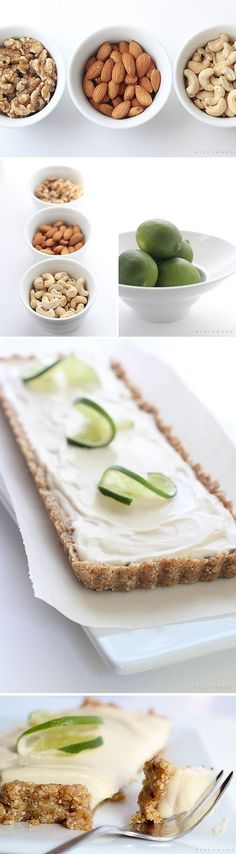 Raw Vegan Lime Tart: Crust: 1 cup dates, 1/3 cup walnuts, cashews & almonds each, 1 tsp vanilla extract -- Blend ingredients well (food processor) until mixture is sticky. Press into tart pan & place in fridge while preparing filling.  Cashew Cream: 2 cups raw cashews (soaked for at least 2 hrs), 1/4 cup lime juice, 1/4 cup honey, 2 tsp vanilla, pinch of salt, 1/4 cup water (adjust to desired consistency) -- Blend ingredients in a blender until smooth. Pour over crust & garnish with lime…