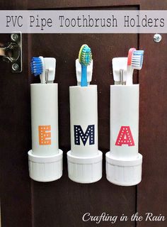 DIY:: Clever ! PVC Pipe Toothbrush Holder ! Space saver that keeps track of your toothbrush while hopefully keeping them off the the floor and out of trash cans!