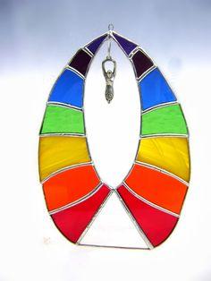 Chakra Rainbow Stained Glass Suncatcher by GothicGlassStudio, $60.00