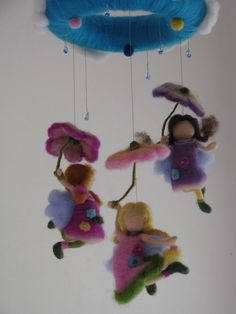 Its raining day - needle felted waldorf inspired children fairy mobile, what little girl's dreams are made of!