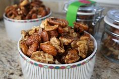 Candied SpicedNuts - Delicious! and I added a dab of ground cloves, mace and doubled the cinnamon.