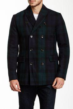Ben Sherman   Wool Blend Plaid Shawl Collar Coat   Nordstrom Rack