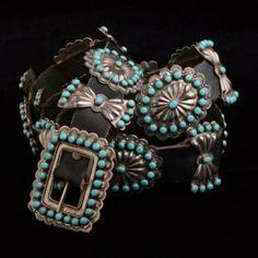 Vintage Sleeping Beauty Conchos Belt, Native American Made