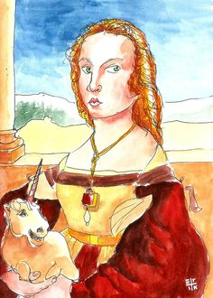 """Rapid sketch on """"Portrait of Young Woman with Unicorn"""" by Raphael."""