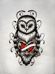 old school owl tattoo | Owl Tattoo Designs Heart Lock Design – Gettattoedcom