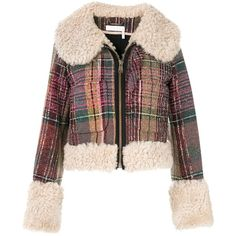 Chloe Cropped Tweed Shearling Jacket (171,015 DOP) ❤ liked on Polyvore featuring outerwear, jackets, kirna zabete, kzloves /, prints please, cropped jacket, multi colored jacket, multi coloured jacket, colorful jackets and checkered jacket