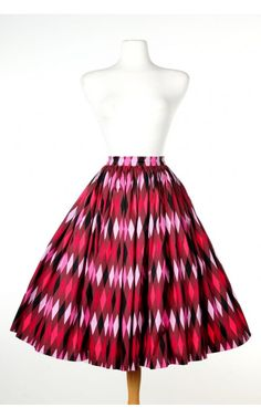 Jenny Skirt in Red and Chocolate Brown Harlequin Print