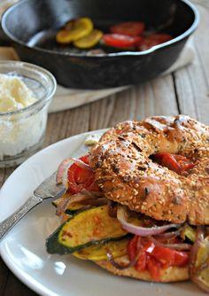Sautéed Veggie Breakfast Bagel Sandwich | mountainmamacooks.com