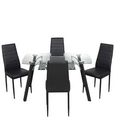 Milan Four Seater Dining Set in Black Finish by Royal Oak