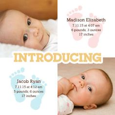 Mixbook Twin Footprints Twins Birth Announcements