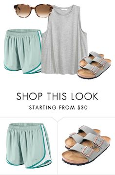 A fashion look from july 2017 by featuring nike, birkenstock, ka Lazy Day Outfits, Cute Summer Outfits, Everyday Outfits, Outfits For Teens, Trendy Outfits, Cool Outfits, Teen Fashion, Fashion Outfits, Womens Fashion