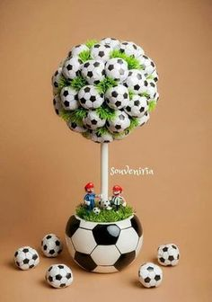 This is an excellent idea for a sports themed boy's room. A soccer inspired topiary would perfectly tie the room together addin… Soccer Birthday Parties, Football Birthday, Sports Birthday, Soccer Party, Sports Party, Soccer Centerpieces, Party Centerpieces, Soccer Baby Showers, Soccer Banquet