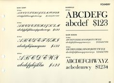 This type specimen shows Bank Script, Fry's/ATF Baskerville, and Bauer Bodoni.
