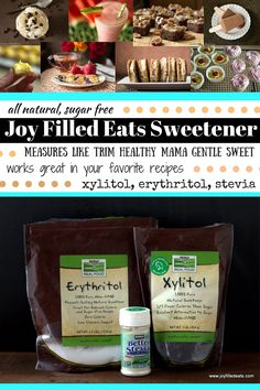 Joy Filled Eats Sweetener - measures like Trim Healthy Mama Gentle Sweet (xylitol, erythritol, stevia) - all natural, sugar free. An easy and economical option for sugar free treats! Sugar Free Sweets, Low Carb Sweets, Low Carb Desserts, Sweet Recipes, Real Food Recipes, Dessert Recipes, Trim Healthy Momma, Joy Filled Eats, Low Carb Recipes