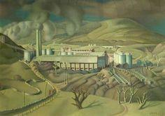 Harry Epworth Allen (British, 1894-1958), Industrial Landscape, Hope Valley, Derbyshire. Tempera on paper, 63.1 x 76.7 cm.