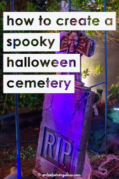DIY Halloween Graveyard Ideas: How to Make a Halloween Cemetery : All kinds of easy ideas for creating a spooky Halloween graveyard in your front yard. Click through to get some great outdoor Halloween decor ideas Diy Halloween Pillars, Diy Halloween Graveyard, Outside Halloween Decorations, Halloween Tombstones, Outdoor Decorations, Diy Halloween Fence, Halloween Lighting, Halloween Coffin, Halloween Witches