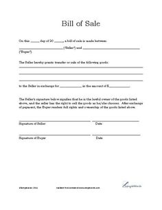 Basic Bill Of Sale Form   Printable Blank Form Template  Blank Sales Contract