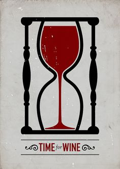 really like the way the wine glass is made to fit in the hour glass, clever logo. Really well done. Simple.