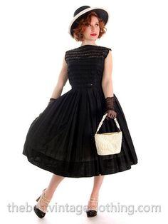 Vintage Summer Dress Black Cotton Great Details 1950s R&K Original – The Best Vintage Clothing