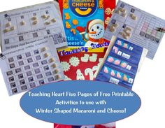 Kraft Macaroni Winter Shapes Sort, Graph, Pocket Chart, and Patterning Activity Sheets - ALL FREE!!!!!   From Teaching Heart!