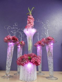 Hot Pink Dahlias & Gladiolas with glitz & glam