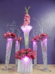 Hot Pink Dahlias & Gladiolas with glitz & glam