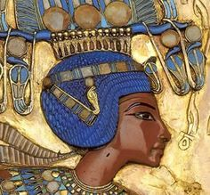 Tutankhamun from the back of his gold throne.